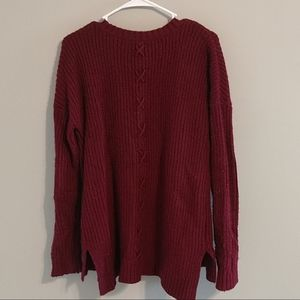 Knit, wine colored, warm cardigan with back design